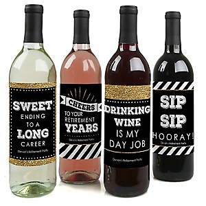 Happy Retirement - Personalized Retirement Party Wine Bottle Label Stickers - Set of 4