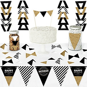 Happy Retirement - DIY Pennant Banner Decorations - Retirement Party Triangle Kit - 99 Pieces