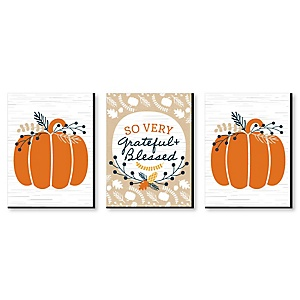 Happy Thanksgiving - Grateful and Blessed Wall Art, Pumpkin Room Decor and Fall Decorations - 7.5 x 10 inches - Set of 3 Prints