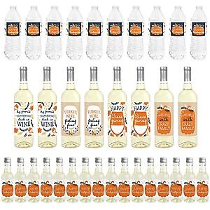 Happy Thanksgiving - Mini Wine Bottle Labels, Wine Bottle Labels and Water Bottle Labels - Fall Harvest Party Decorations - Beverage Bar Kit - 34 Pieces