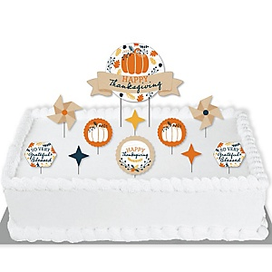 Happy Thanksgiving - Fall Harvest Party Cake Decorating Kit - Cake Topper Set - 11 Pieces