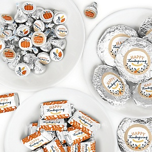Happy Thanksgiving - Mini Candy Bar Wrappers, Round Candy Stickers and Circle Stickers - Fall Harvest Party Candy Favor Sticker Kit - 304 Pieces