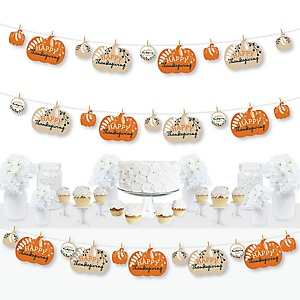 Happy Thanksgiving - Fall Harvest Party DIY Decorations - Clothespin Garland Banner - 44 Pieces