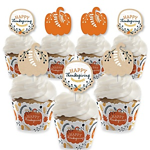 Happy Thanksgiving - Cupcake Decorations - Fall Harvest Party Cupcake Wrappers and Treat Picks Kit - Set of 24
