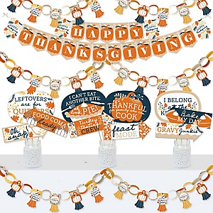 Happy Thanksgiving - Banner and Photo Booth Decorations - Fall Harvest Party Supplies Kit - Doterrific Bundle