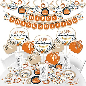 Happy Thanksgiving - Fall Harvest Party Supplies - Banner Decoration Kit - Fundle Bundle