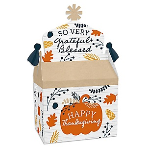 Happy Thanksgiving - Treat Box Party Favors - Fall Harvest Party Goodie Gable Boxes - Set of 12