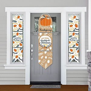 Happy Thanksgiving - Hanging Porch Front Door Signs - Fall Harvest Party Banner Decoration Kit - Outdoor Door Decor