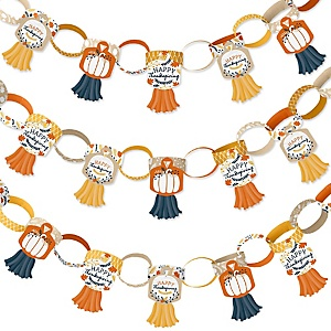 Happy Thanksgiving - 90 Chain Links and 30 Paper Tassels Decoration Kit - Fall Harvest Party Paper Chains Garland - 21 feet