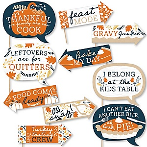 Funny Happy Thanksgiving - 10 Piece Fall Harvest Party Photo Booth Props Kit