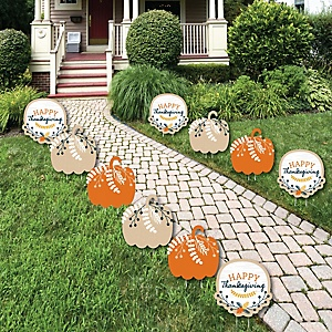 Happy Thanksgiving - Lawn Decorations - Outdoor Fall Harvest Party Yard Decorations - 10 Piece