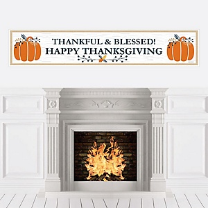 Happy Thanksgiving - Personalized Fall Harvest Party Banner