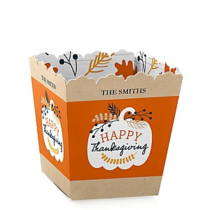 Happy Thanksgiving - Party Mini Favor Boxes - Personalized Fall Harvest Party Treat Candy Boxes - Set of 12