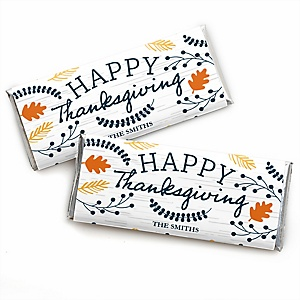 Happy Thanksgiving - Personalized Candy Bar Wrapper Fall Harvest Party Favors - Set of 24