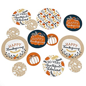 Happy Thanksgiving - Fall Harvest Party Giant Circle Confetti - Party Decorations - Large Confetti 27 Count