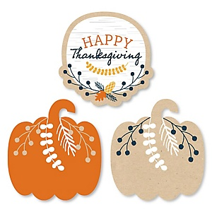 Happy Thanksgiving - DIY Shaped Fall Harvest Party Cut-Outs - 24 ct