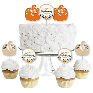 Happy Thanksgiving - Dessert Cupcake Toppers - Fall Harvest Party Clear Treat Picks - Set of 24