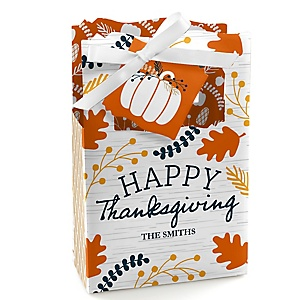 Happy Thanksgiving - Personalized Fall Harvest Party Favor Boxes - Set of 12