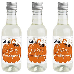 Happy Thanksgiving - Mini Wine and Champagne Bottle Label Stickers - Fall Harvest Party Favor Gift - For Women and Men - Set of 16