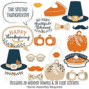 Happy Thanksgiving - 20 Piece Fall Harvest Party Photo Booth Props Kit
