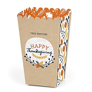 Happy Thanksgiving - Personalized Fall Harvest Party Favor Popcorn Treat Boxes - Set of 12