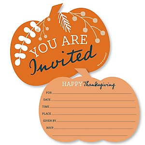 Happy Thanksgiving - Shaped Fill-In Invitations - Fall Harvest Party Invitation Cards with Envelopes - Set of 12