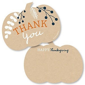 Happy Thanksgiving - Shaped Thank You Cards - Fall Harvest Party Thank You Note Cards with Envelopes - Set of 12
