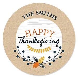 Happy Thanksgiving - Personalized Fall Harvest Party Sticker Labels - 24 ct
