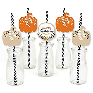 Happy Thanksgiving - Paper Straw Decor - Fall Harvest Party Striped Decorative Straws - Set of 24