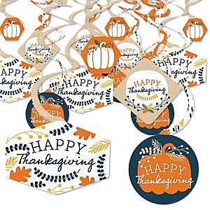 Happy Thanksgiving - Fall Harvest Party Hanging Decor - Party Decoration Swirls - Set of 40