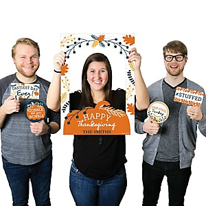 Happy Thanksgiving - Personalized Fall Harvest Party Selfie Photo Booth Picture Frame and Props - Printed on Sturdy Material