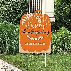 Happy Thanksgiving - Party Decorations - Fall Harvest Party Personalized Welcome Yard Sign