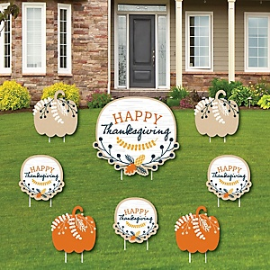Happy Thanksgiving - Yard Sign and Outdoor Lawn Decorations - Fall Harvest Party Yard Signs - Set of 8