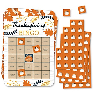 Happy Thanksgiving - Bingo Cards and Markers - Fall Harvest Party Bingo Game - Set of 18
