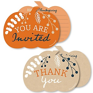 Happy Thanksgiving - 20 Shaped Fill-In Invitations and 20 Shaped Thank You Cards Kit - Fall Harvest Party Stationery Kit - 40 Pack