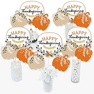 Happy Thanksgiving - Fall Harvest Party Centerpiece Sticks - Table Toppers - Set of 15