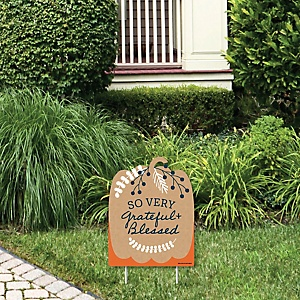 Happy Thanksgiving  - Outdoor Lawn Sign - Fall Harvest Party Yard Sign - 1 Piece