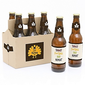 Happy Turkey Day - Thanksgiving - Decorations for Women and Men - 6 Beer Bottle Label Stickers and 1 Carrier