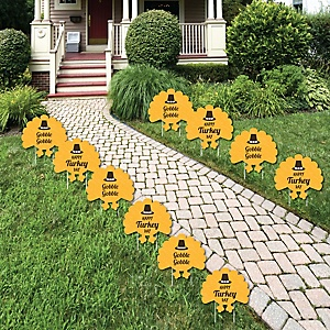 Happy Turkey Day - Turkey Lawn Decorations - Outdoor Thanksgiving Yard Decorations - 10 Piece