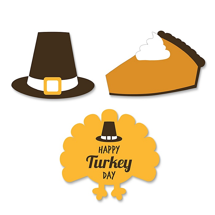 Happy Turkey Day - DIY Shaped Thanksgiving Party Paper Cut-Outs - 24 ct
