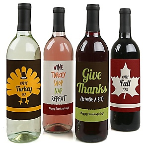 Happy Turkey Day - Thanksgiving Decorations for Women and Men - Wine Bottle Label Stickers - Set of 4