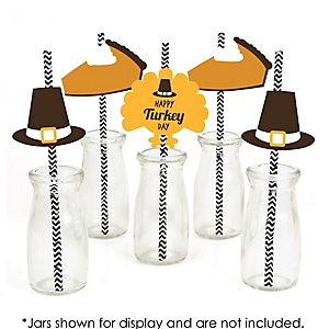Happy Turkey Day - Paper Straw Decor - Thanksgiving Party Striped Decorative Straws - Set of 24