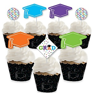 Hats Off Grad - Cupcake Decoration - Graduation Party Cupcake Wrappers and Treat Picks Kit - Set of 24