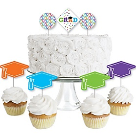 Hats Off Grad - Dessert Cupcake Toppers - Graduation Party Clear Treat Picks - Set of 24