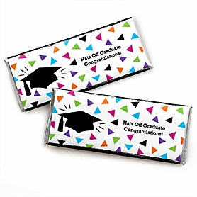 Hats Off Grad -  Candy Bar Wrappers Graduation Party Favors - Set of 24