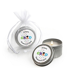 Hats Off Grad - Personalized Graduation Candle Tin Favors - Set of 12