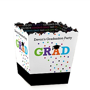 Hats Off Grad - Party Mini Favor Boxes - Personalized Graduation Treat Candy Boxes - Set of 12