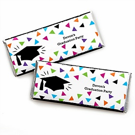 Hats Off Grad - Personalized Candy Bar Wrappers Graduation Party Favors - Set of 24
