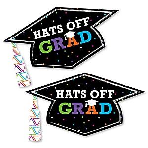 Hats Off Grad - Graduation Hat Decorations DIY Large Graduation Party Essentials - 20 Count