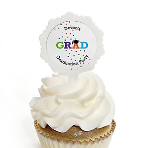 Hats Off Grad - Personalized Graduation Cupcake Pick and Sticker Kit - 12 ct